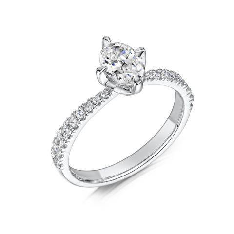 0.6 Carat GIA GVS Diamond solitaire 18ct White Gold. Oval diamond Engagement Ring, MWSS-1180/040